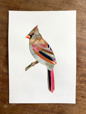 "Cardinal on 9""x12.5"" Cold Press Watercolor Paper"