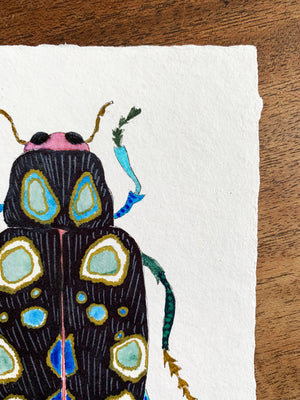 "Beetle #1 ~  5""x7"" Watercolor & Ink on Handmade Paper"