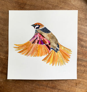 "Sparrow on 12""x12"" Cold Press Watercolor Paper"