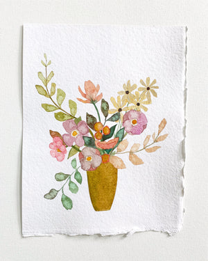 "Bouquet No. 2 - 11""x14"" on Handmade Paper"