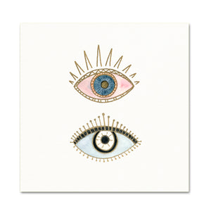 Boho Art Print. Pink/Blue Evil Eye Decor. Minimalist Artwork.