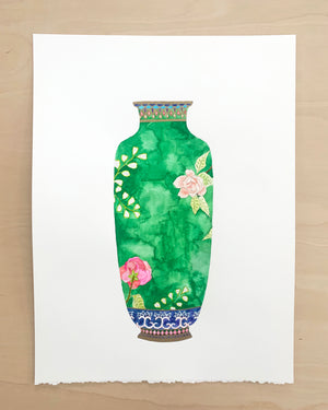 "Antique Vase No. 2 - 15""x19"" on Cold Press Watercolor Paper"