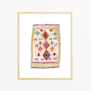Boho Art Print. Bohemian Decor. Vintage Rug Watercolor Artwork.