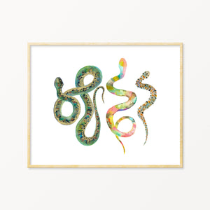 Baby Shower Gift. Watercolor Snake Art.