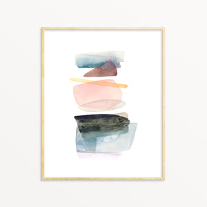 Abstract Wall Art. Pastel Watercolor Contemporary Decor.