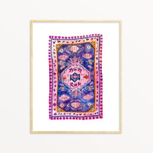 Boho Art Print. Bohemian Decor. Purple Vintage Rug Watercolor Artwork.