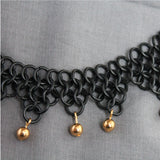 Blackened steel European 4-in-1 3-step necklace with gold beads