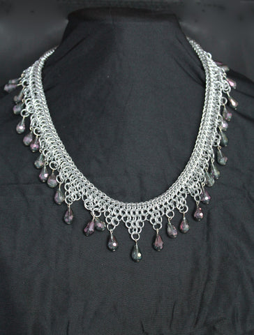 European 4-in-1 3-step silver necklace with amethyst-coloured beads