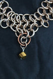 European 4-in-1 weave necklace with bronze-accented anchor rings and bronze beads