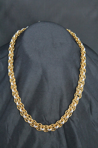 Celtic Helm weave necklace in gold and silver tones