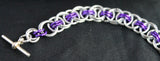 Celtic Helm weave bracelet in silver and purple