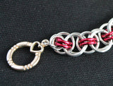 Celtic Helm weave bracelet in silver and red