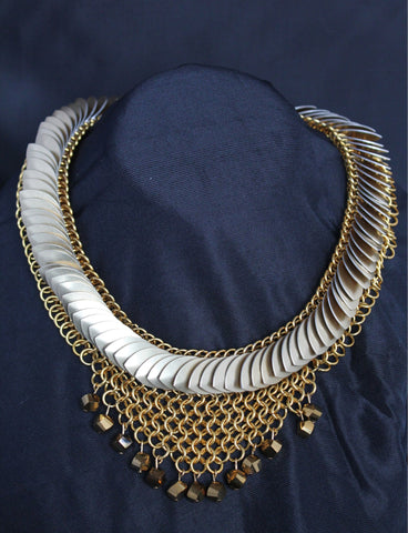 European 4-in-1 weave bib necklace with champagne scales and bronze tone beads