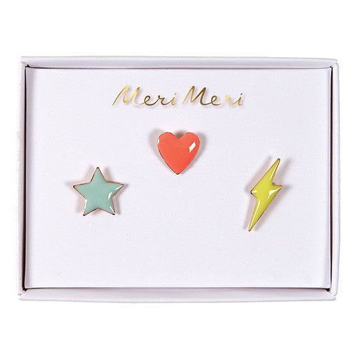 MeriMeri Star, Heart, Flash Enamel Pins