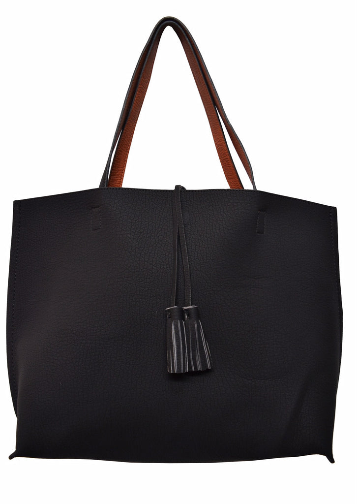Street Level Black/Brown Reversible Tote