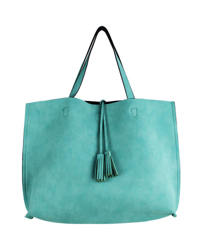 Street Level Reversible Tote Mint/Navy