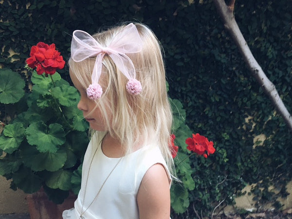 Handmade Pink Bow Clip Pin with pom poms