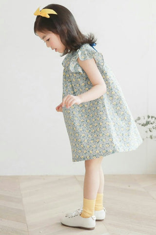 Ruffle flower print dress