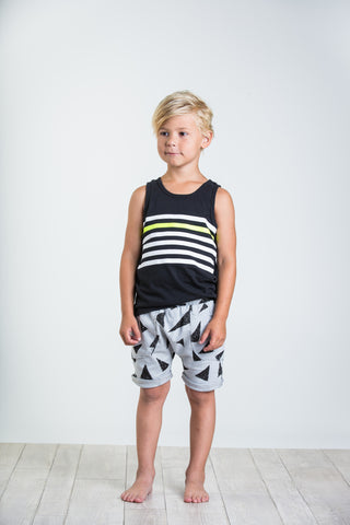 Joah Love Ash Black Neal Triangle Print Shorts