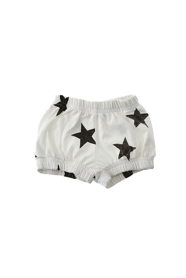 Nununu Unisex Star Yoga Shorts White/Black