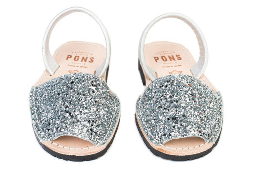 Avarcas Pons Classic Style Kids Glitter Silver