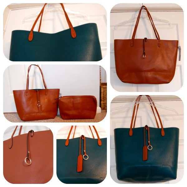 Street Level Reversible Faux Leather Tote & Wristlet Green/Brown