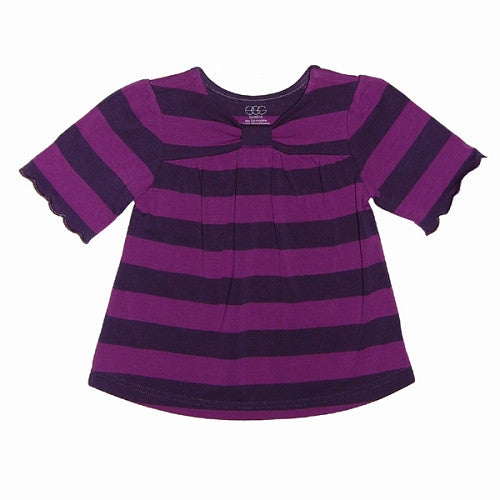 [Egg Baby] Striped Jersey Bow Dress - Grape - Gemgem