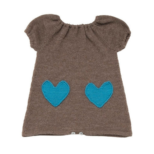 [Oeuf] Heart Dress - brown/turquoise - Gemgem  - 1