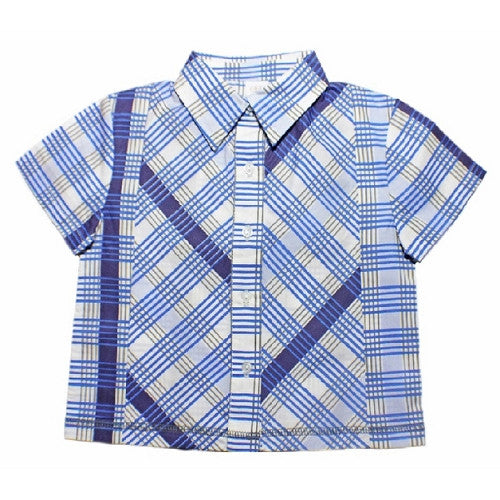 [Egg Baby] Cotton Button Down Shirt - indigo - Gemgem  - 1