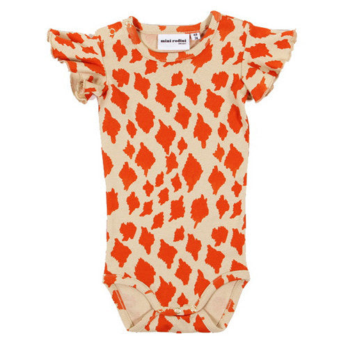 Mini Rodini Wing Body Giraffe onesie - beige/orange - Gemgem  - 1