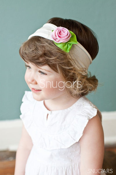 Snugars Strawberry and Cream Petite Rose headband