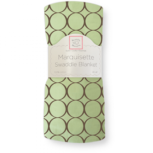[Swaddle Designs] Marquisette Swaddle Blanket - Brown Mod Circles on Green