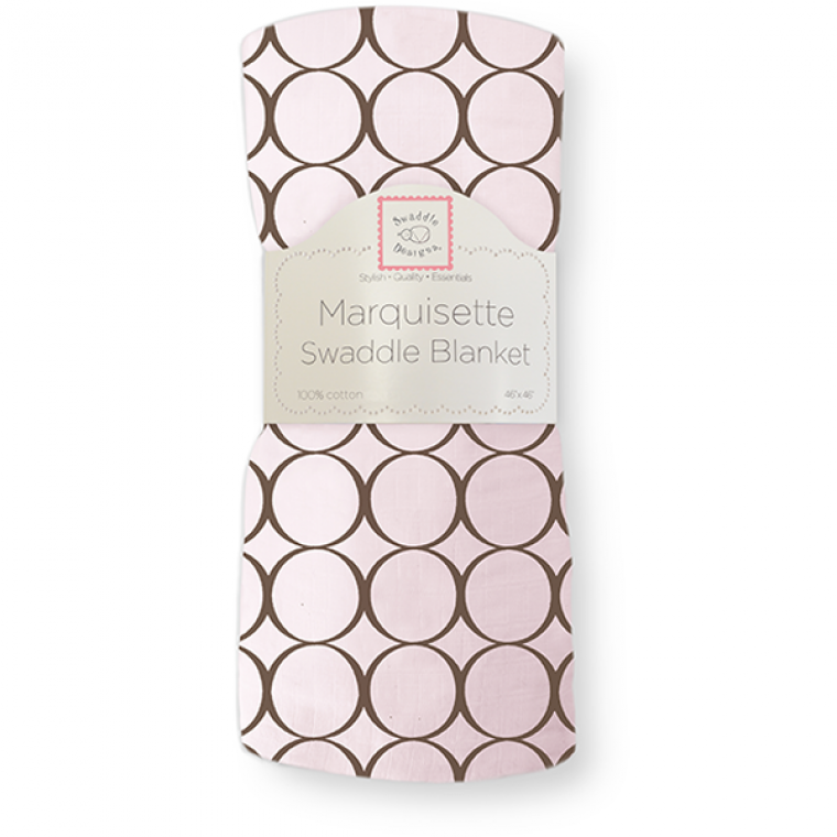 [Swaddle Designs] Marquisette Swaddle Blanket- Brown Mod Circles On Pastel Pink