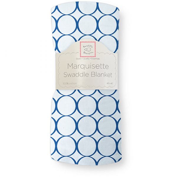 [Swaddle Designs] Marquisette Swaddle Blanket- Jewel Mod Circles True Blue