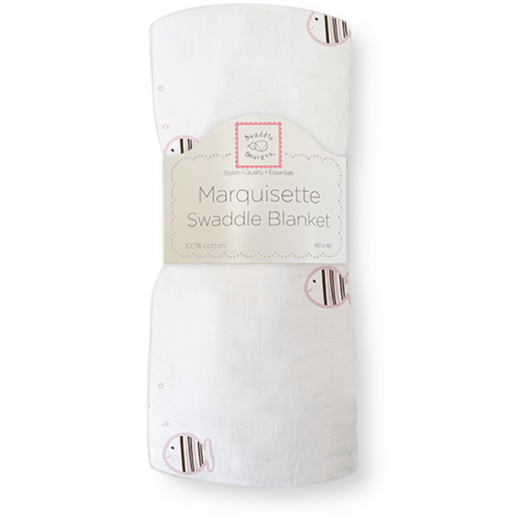 [Swaddle Design] Marquisette Swaddle Blanket - Pink Pastel Mocha Striped Fish