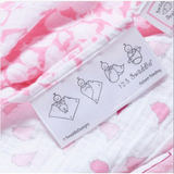 [Swaddle Design] Marquisette Swaddling Blanket - Pastel Pink with Very Berry Mod Circles