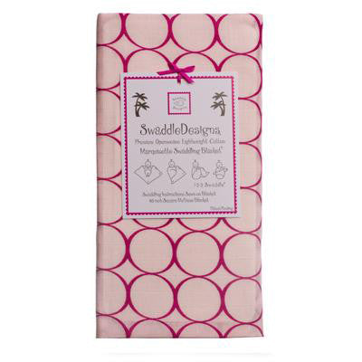 [Swaddle Design] Marquisette Swaddling Blanket - Pastel Pink with Very Berry Mod Circles - Gemgem