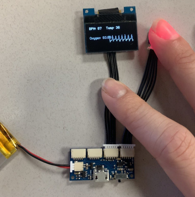 Pulse Sensor on OLED Display with Wirelings