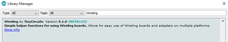 Screenshot of the Wireling Library in the Arduino Library Manager