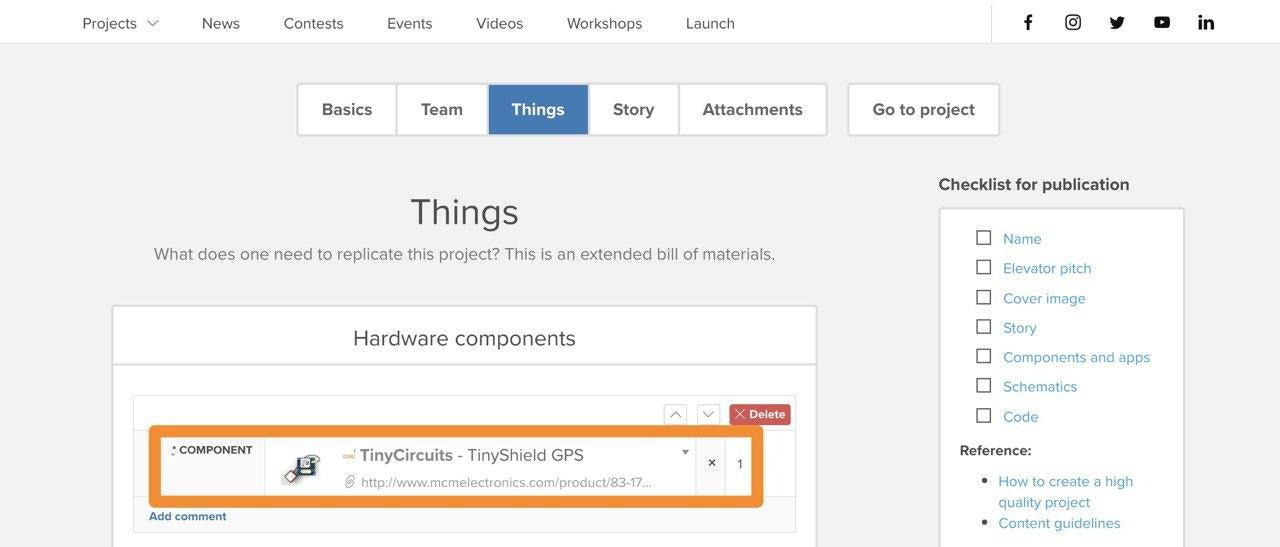 Include TinyCircuits Hardware in project documentation