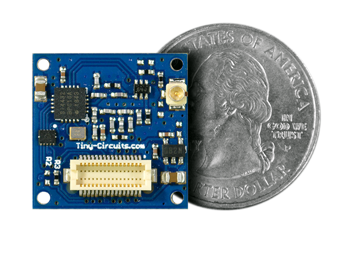 433MHZ Long Range Radio Shield Quarter Size Comparison