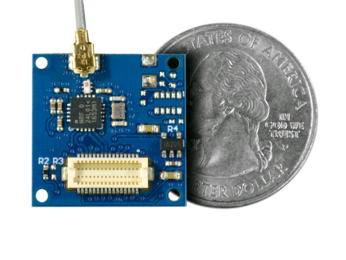 NRF24L01+ 2.4GHz Radio Shield quarter size comparison