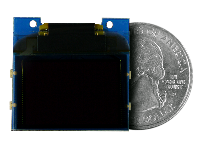 TinyScreen OLED Shield quarter size comparison