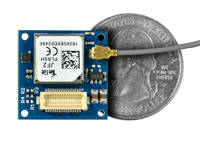 GPS Shield quarter size comparison