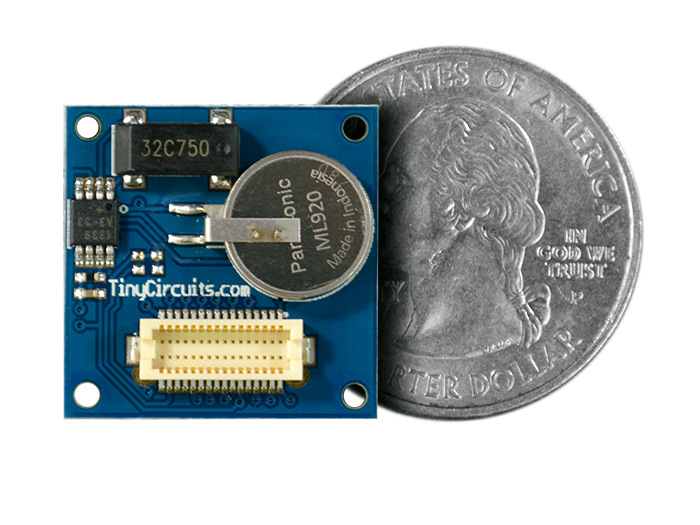 Real-Time Clock Shield quarter size comparison