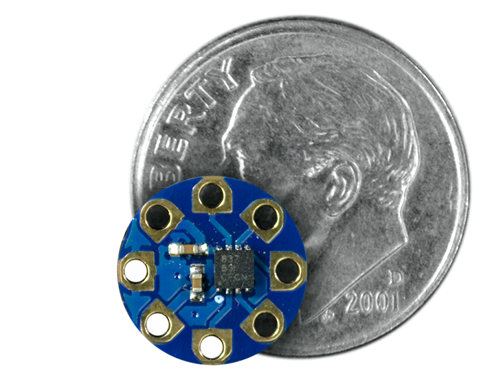 TinyLily Motor Board quarter size comparison