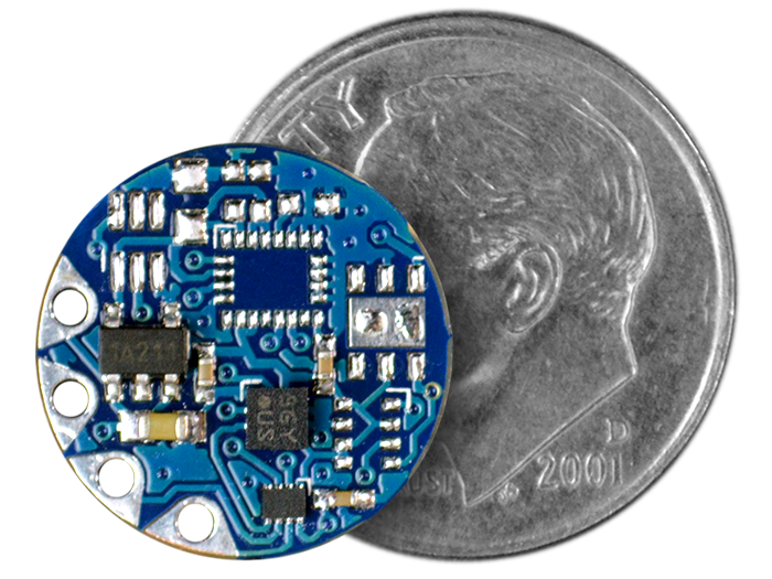 TinyLily Accelerometer compared to a dime