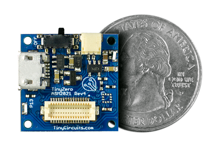 TinyZero Processor Board quarter size comparison
