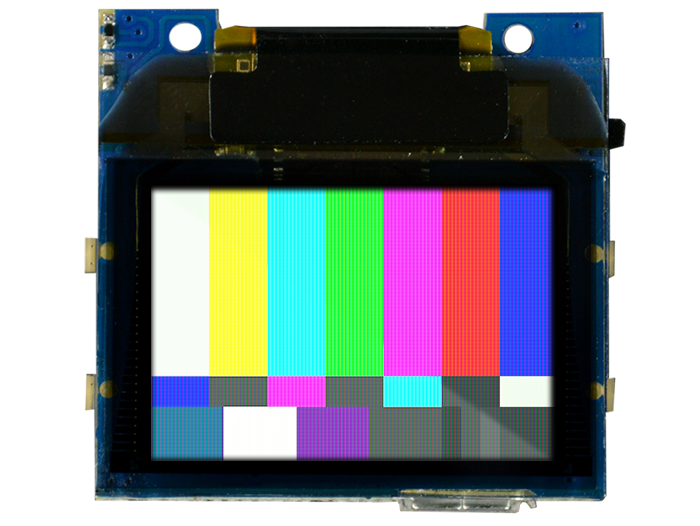 TinyScreen+ (Processor, OLED & USB in one) with SMPTE color bars