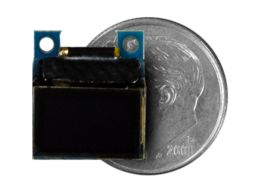 "0.42"" OLED Screen Wireling compared to a dime"